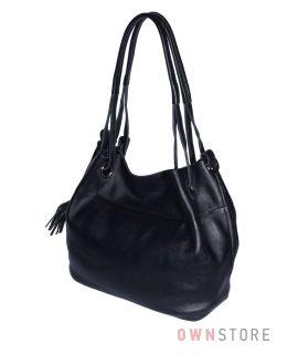 Купить онлайн сумку женскую кожаную черную на двух ручках - арт.753