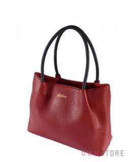 Купить онлайн красную кожаную женскую сумку с плетеными ручками - арт.9047