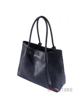 Купить онлайн черную кожаную женскую сумку с плетеными ручками - арт.9047