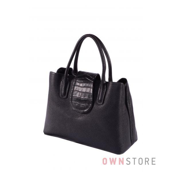 Купить онлайн сумку женскую небольшую черную кожаную - арт.9170