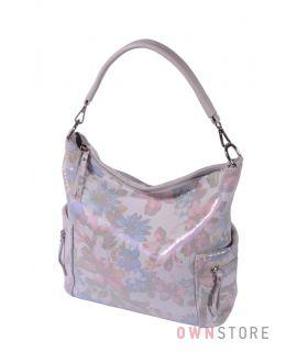 Купить онлайн сумку женскую с карманами из лазера с цветами - арт.923