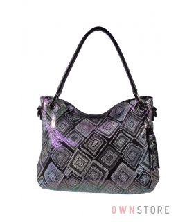 Купить онлайн сумку женскую на двух ручках из лазера в ромбах черную - арт.962