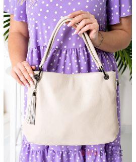 Купить онлайн сумку женскую бежевую кожаную на двух ручках - арт.5202