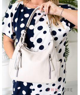 Купить онлайн кожаную женскую бежевую сумку с карманами - арт.8222