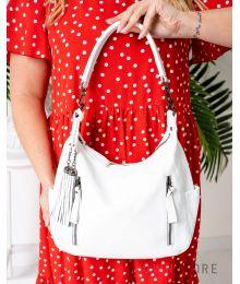 Кожаная белая сумка с карманами(арт.8222)