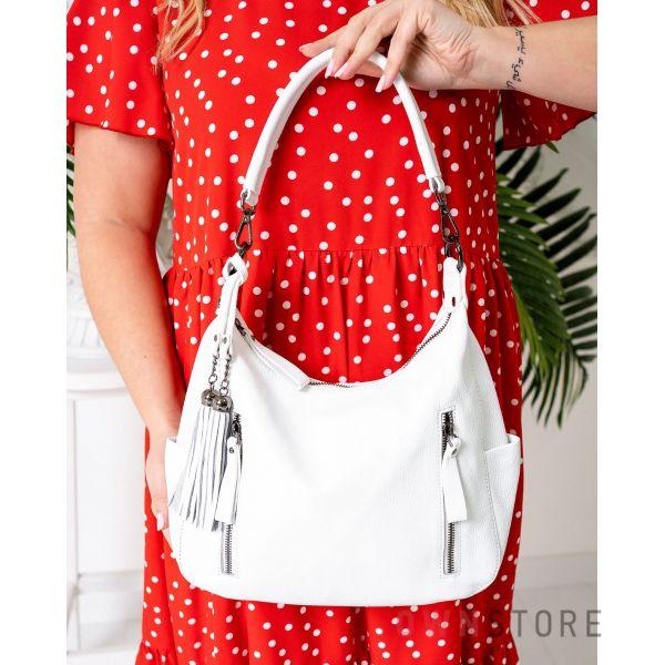 Купить онлайн кожаную женскую белую сумку с карманами - арт.8222