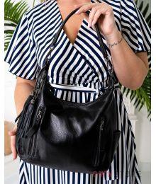 Кожаная черная сумка с карманами(арт.8222)