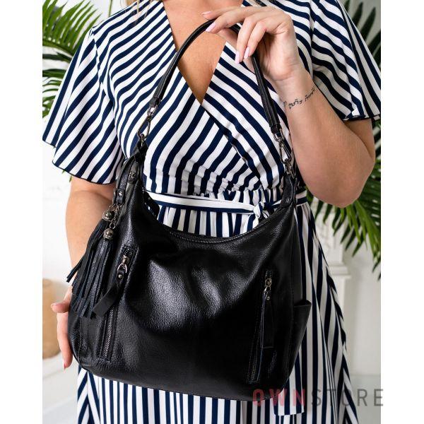 Купить онлайн кожаную женскую черную сумку с карманами - арт.8222