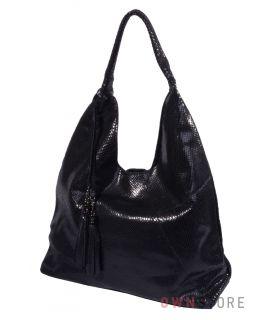 Купить онлайн большую сумку из черного лазера - арт.8169-3