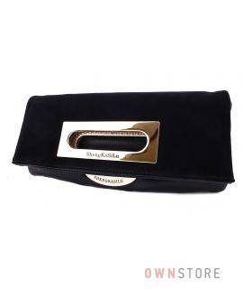 Клатч замшевый черный с металлической ручкой(арт1196)