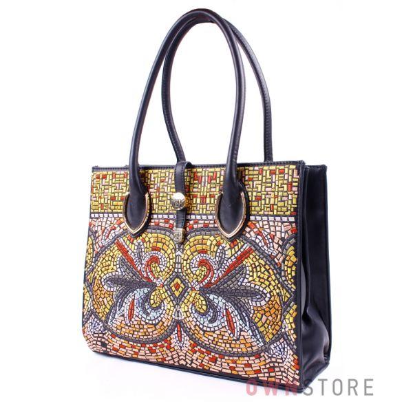 Купить сумку черную женскую с мозаичной вышивкой от Фарфалла Россо - арт. 83107