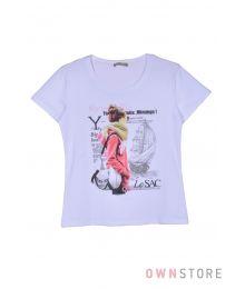 Женская белая футболка впереди с рисунком (арт.001-1)