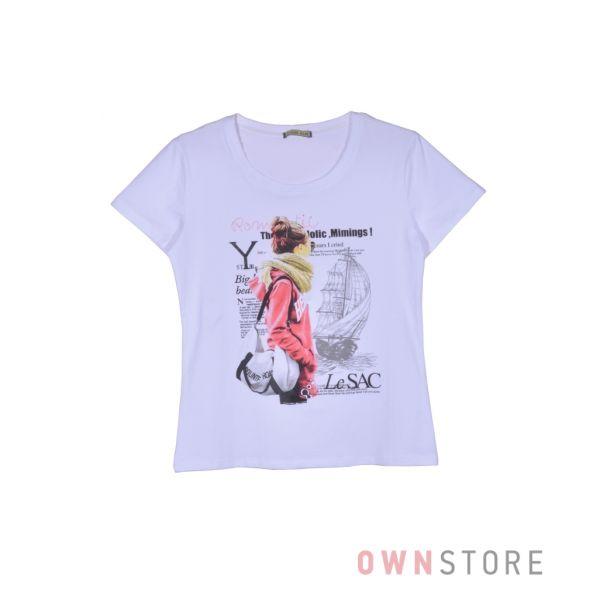 Купить онлайн женскую белую футболку впереди с рисунком  - арт.001-1