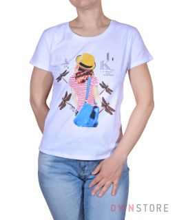 Купить онлайн женскую белую футболку впереди с  рисунком  - арт.001-2