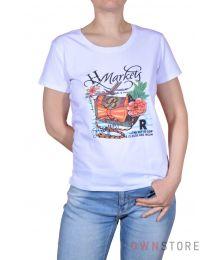 Женская белая футболка впереди с  рисунком (арт.001)