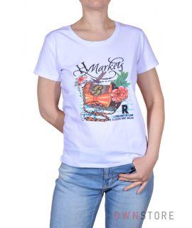 Купить онлайн женскую белую футболку впереди с рисунком  - арт.001