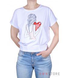 Женская белая футболка с вышивкой впереди(арт.961)
