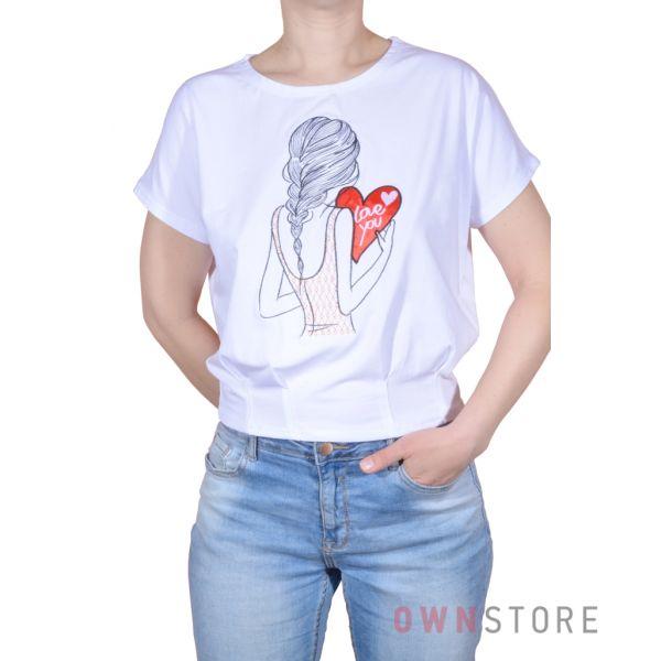 Купить онлайн женскую белую футболку с вышивкой впереди - арт.961