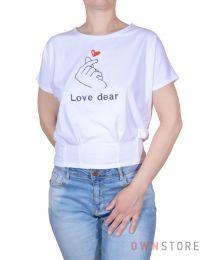 Женская белая футболка с вышивкой впереди(арт.962)