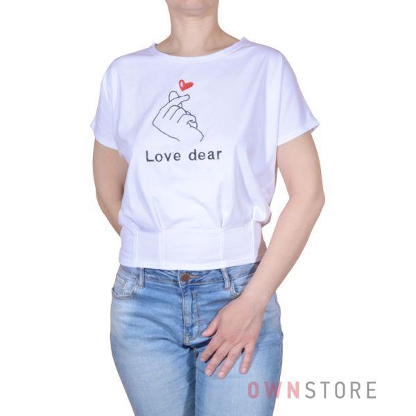 Купить онлайн женскую белую футболку с вышивкой впереди - арт.962