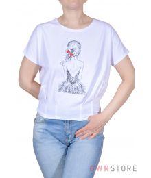 Женская белая футболка с вышивкой впереди(арт.967)
