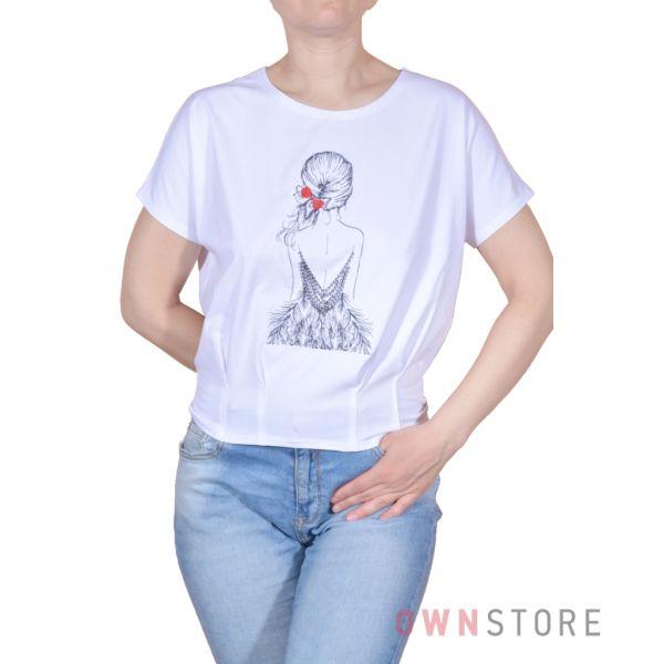 Купить онлайн женскую белую футболку с вышивкой впереди - арт.967