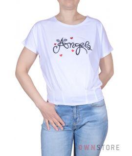 Купить онлайн женскую белую футболку с вышивкой впереди - арт.980