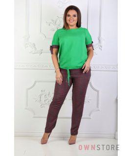 Купить онлайн костюм женский летний зеленый комбинированный - арт.1125