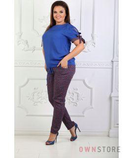 Купить онлайн костюм женский летний синий комбинированный - арт.1125