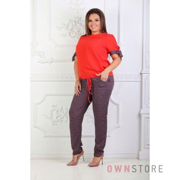 Купить онлайн костюм женский летний красный комбинированный - арт.1125