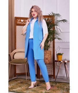 Купить онлайн батальный женский костюм-тройка голубой  - арт.1148