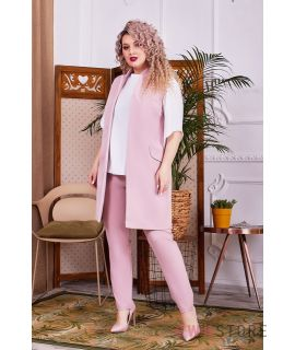 Купить онлайн батальный женский костюм-тройка пудровый  - арт.1148