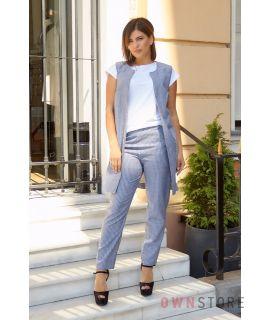 Купить онлайн батальный женский костюм -двойку из льна синий - арт.1156