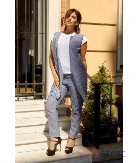 Купить онлайн батальный женский костюм двойку из льна серый - арт.1156