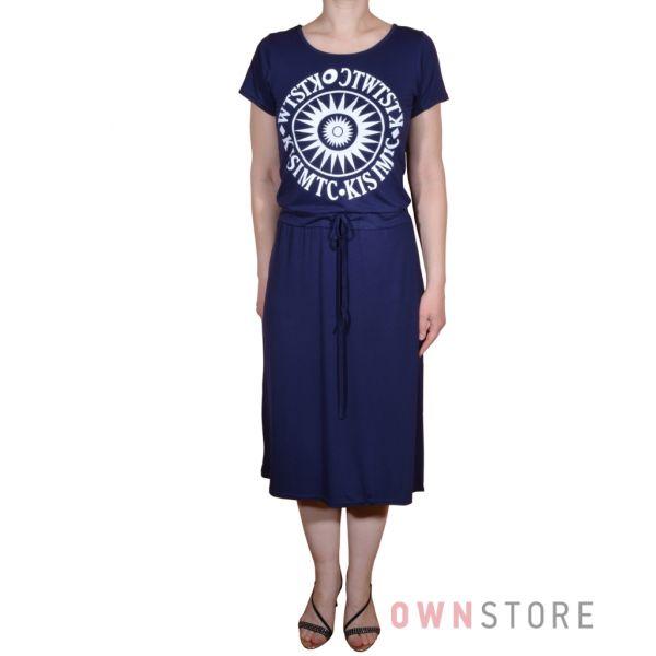 Купить онлайн платье женское из тонкого трикотажа с завязкой на поясе - арт.112