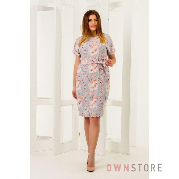 Купить онлайн легкое голубое женское платье - арт.1121