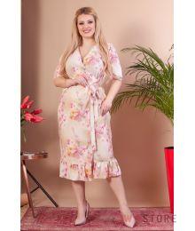 Укороченное розовое платье  на запах(арт.1145)