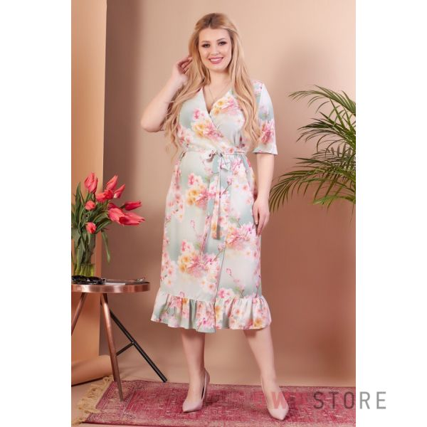 Купить онлайн укороченное мятное женское платье  на запах - арт.1145