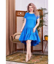 Платье асимметричное с оборками голубое (арт.1147)