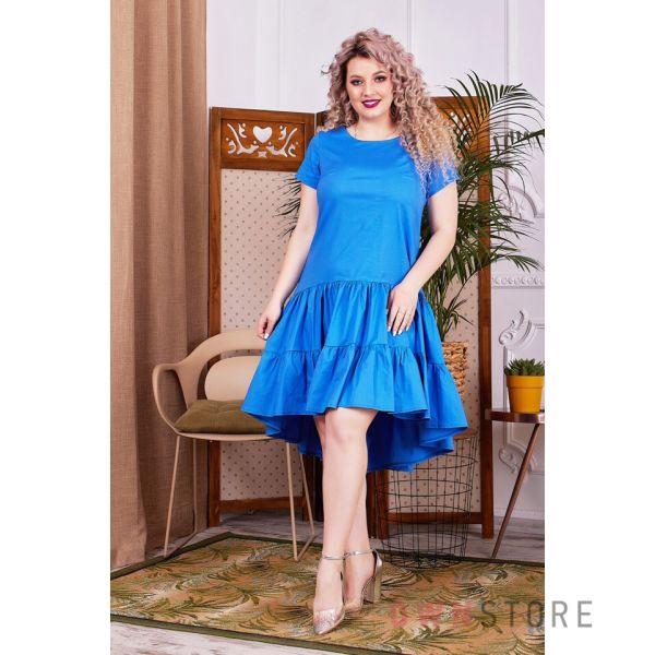Купить онлайн батальное платье женское асимметричное с оборками голубое  - арт.1147