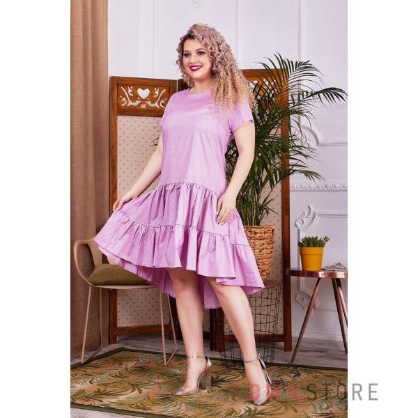 Купить онлайн батальное платье женское асимметричное с оборками пудра - арт.1147
