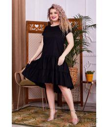 Платье асимметричное с оборками черное (арт.1147)