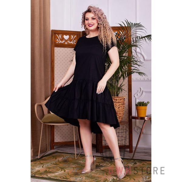 Купить онлайн батальное платье женское асимметричное с оборками черное  - арт.1147