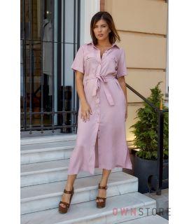 Купить онлайн батальное платье женское сафари пудра - арт.1157