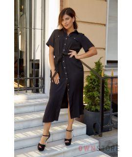 Купить онлайн батальное платье женское сафари черное - арт.1157