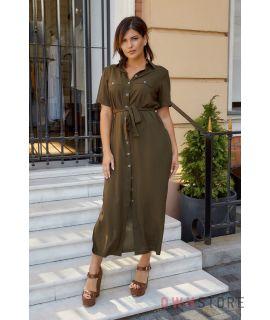 Купить онлайн батальное платье женское сафари хаки - арт.1157