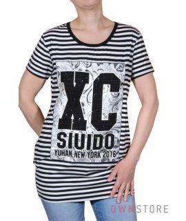 Купить онлайн женскую тунику в черно-белую полоску - арт.8028