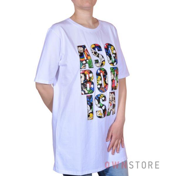Купить онлайн женскую белую футболку с разноцветной аппликацией - арт.8659