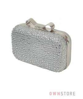 Купить вечернюю сумочку на цепочке со стразами серебряную - арт.0951