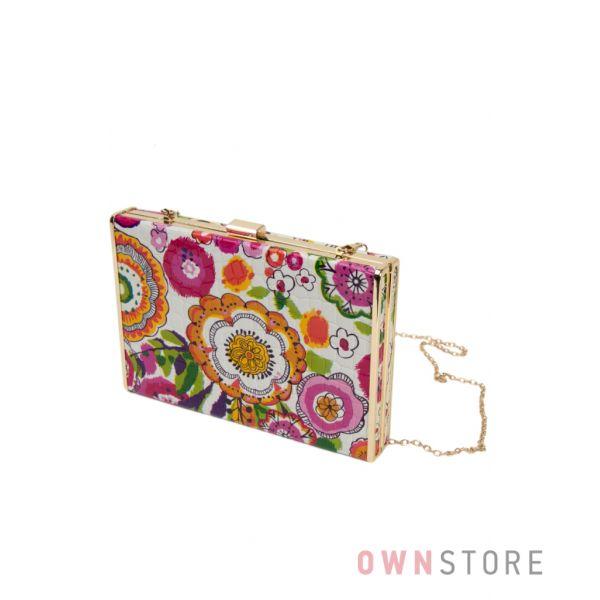 Купить женскую сумку - клатч лаковую с цветным орнаментом - арт.0994